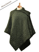 Merino Wool Poncho with Split Collar - Moss Green