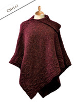 Merino Wool Poncho with Split Collar - Chilli