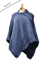 Merino Wool Poncho with Split Collar - Denim