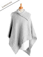 Merino Wool Poncho with Split Collar - Limestone