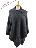 Merino Wool Poncho with Split Collar - Charcoal