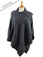 Merino Wool Poncho with Split Collar - Charcoal