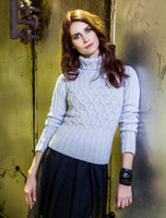 Wool Cashmere Polo Neck Sweater with Criss Cross Pattern - Sky Blue