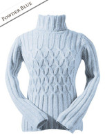 Wool Cashmere Polo Neck Sweater with Criss Cross Pattern - Powder Blue