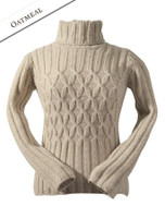 Wool Cashmere Polo Neck Sweater with Criss Cross Pattern - Oatmeal