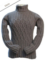 Wool Cashmere Polo Neck Sweater with Criss Cross Pattern - Grey