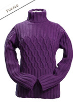 Wool Cashmere Polo Neck Sweater with Criss Cross Pattern - Purple