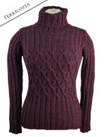 Wool Cashmere Polo Neck Sweater with Criss Cross Pattern - Terricotta