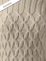 Pattern Detail of Wool Cashmere Polo Neck Sweater with Criss Cross Pattern