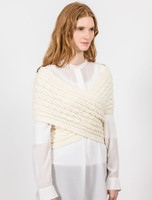 Wool Cashmere Aran Wrap with Buttoned Side - Natural White