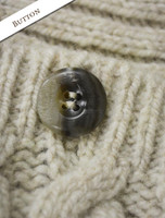 Button Detail of Wool Cashmere Aran Wrap with Buttoned Side