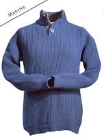 Ribbed Fisherman Sweater With Button Collar - Marine