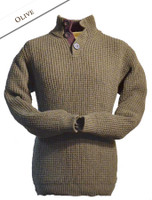 Ribbed Fisherman Sweater With Button Collar - Olive