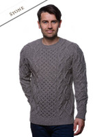 Aran Cabled Sweater- Fisherman Sweater - Stone