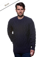 Aran Cabled Sweater- Fisherman Sweater - Navy