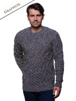 Aran Cabled Sweater- Fisherman Sweater - Graphite