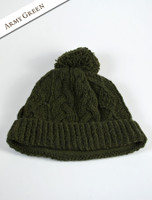 Aran Fleece Lined Rib Cap with Bobble - Army Green