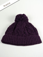 Aran Fleece Lined Rib Cap with Bobble - Purple