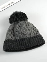 Aran Fleece Lined Rib Cap with Bobble - Charcoal/Grey