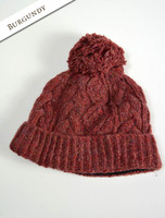 Aran Fleece Lined Rib Cap with Bobble - Burgundy