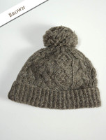 Aran Fleece Lined Rib Cap with Bobble - Brown