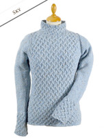 Wool Cashmere Aran Trellis Sweater - Sky Blue