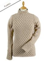 Wool Cashmere Aran Trellis Sweater - Camel