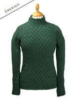 Wool Cashmere Aran Trellis Sweater - Emerald