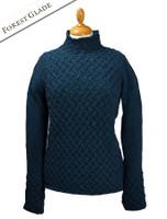 Wool Cashmere Aran Trellis Sweater - Forest Glade