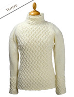 Wool Cashmere Aran Trellis Sweater - White