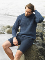 Irish Fishermans Ribbed Sweater with Patches