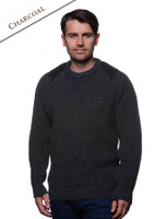 Irish Fishermans Ribbed Sweater with Patches - Charcoal