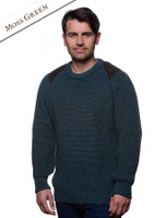 Irish Fishermans Ribbed Sweater with Patches - Moss