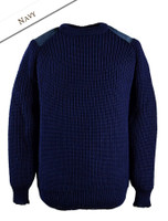 Irish Fishermans Ribbed Sweater with Patches - Navy