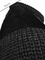 Pattern Detail of Irish Fishermans Ribbed Sweater with Patches