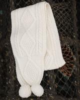 Children's Aran Pom Scarf - Natural White