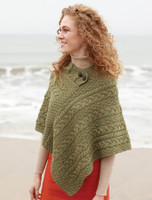 Cable Poncho with Aran Button Detail - Irish Moss
