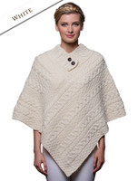 Cable Poncho with Aran Button Detail - White