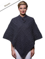 Cable Poncho with Aran Button Detail - Derby