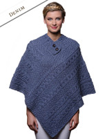 Cable Poncho with Aran Button Detail - Denim Marl