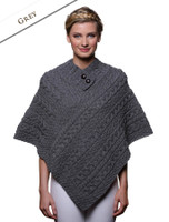 Cable Poncho with Aran Button Detail - Grey