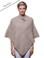 Cable Poncho with Aran Button Detail - Wicker