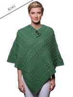 Cable Poncho with Aran Button Detail - Kiwi