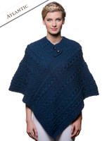 Cable Poncho with Aran Button Detail - Atlantic