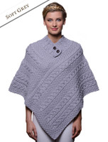 Cable Poncho with Aran Button Detail - Soft Grey