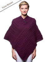 Cable Poncho with Aran Button Detail - Very Berry