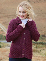 Honeycomb Button-Up Cardigan - Very Berry