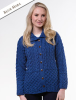 Honeycomb Button-Up Cardigan - Blue Marl