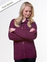 Honeycomb Button-Up Cardigan- Very Berry
