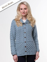 Honeycomb Button-Up Cardigan- Misty Marl
